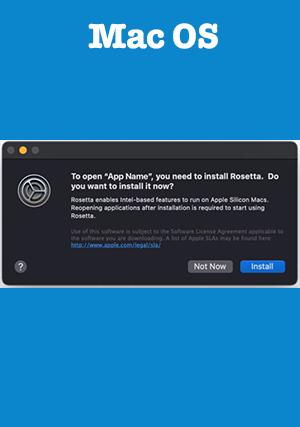 Если необходимо установить Rosetta на компьютер Mac